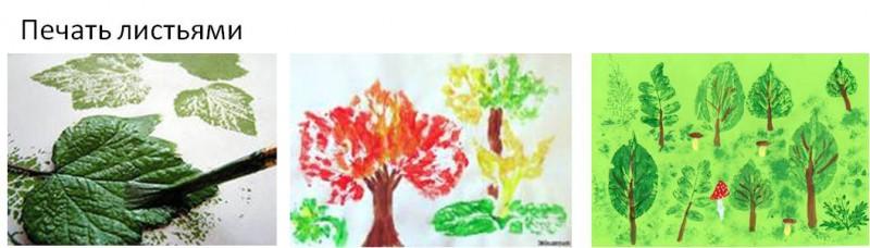 Печать листьями